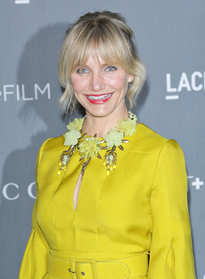 Cameron Diaz's Wavy, Funky, Blonde, Updo Hairstyle with Bangs