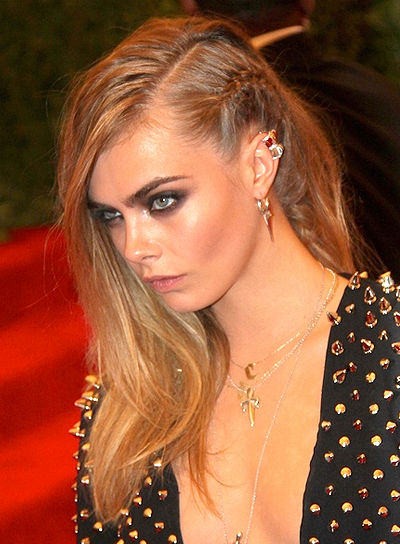 Cara Delevingne's Long, Tousled, Edgy Hairstyle with Braids and Twists