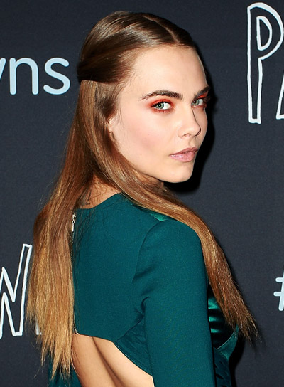 Cara Delevingne's Long, Brunette, Straight, Sophisticated Half Updo Hairstyle Pictures