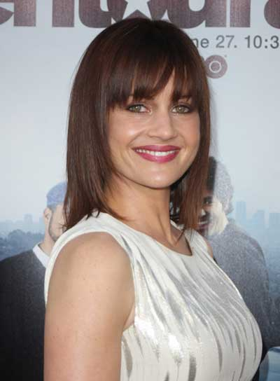 Carla Gugino Medium, Straight, Brunette Hairstyle with Bangs