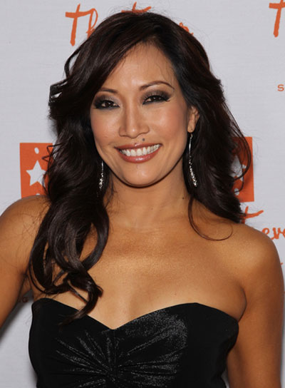Carrie Ann Inaba Long, Wavy, Sexy, Brunette Hairstyle