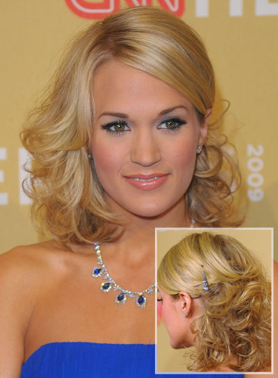 Carrie Underwood Blonde, Curly Prom Hairstyle