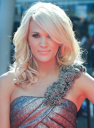 Carrie Underwood Medium, Curly, Blonde Hairstyle with Bangs