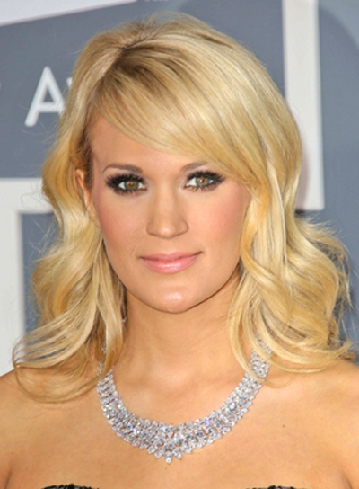 Carrie Underwood's Wavy, Blonde, Romantic Hairstyle with Bangs