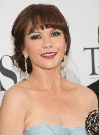 Catherine Zeta-Jones Romantic, Brunette Updo with Bangs