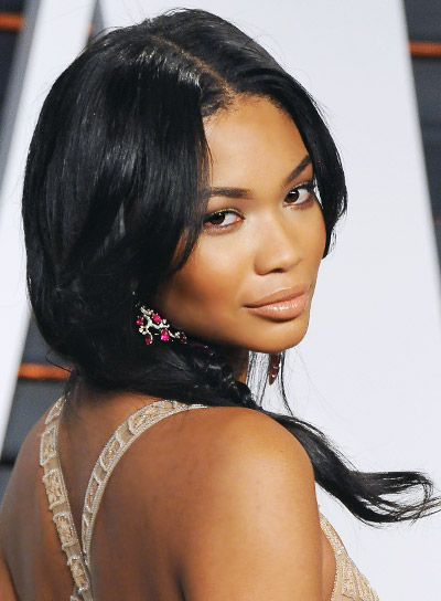 Chanel Iman Medium, Black, Romantic Hairstyle with Braids and Twists Pictures