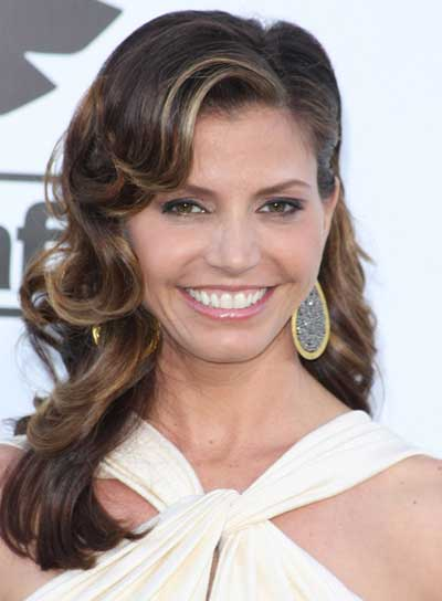 Charisma Carpenter Long, Curly, Layered, Brunette Hairstyle with Highlights