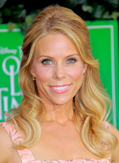 Cheryl Hines' Medium, Romantic, Curly, Half Updo Hairstyle