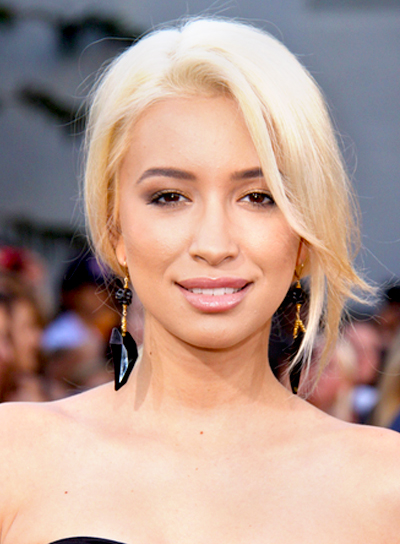 Christian Serratos' Straight, Romantic, Blonde, Updo Hairstyle