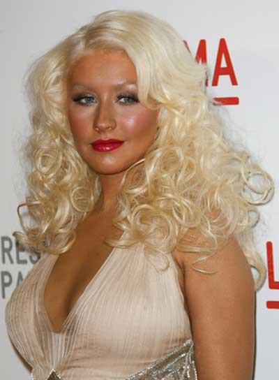 Christina Aguilera Curly, Blonde Hairstyle