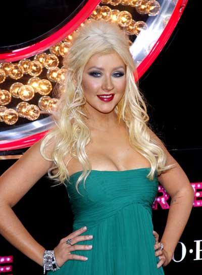Christina Aguilera Long, Blonde, Wavy, Half Updo