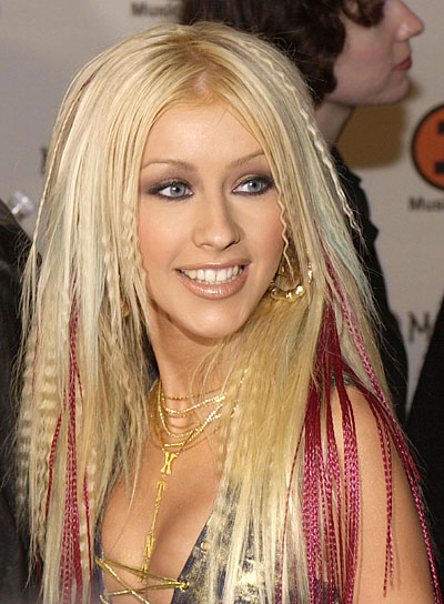 Christina Aguilera Straight, Blonde, Funky Hairstyle