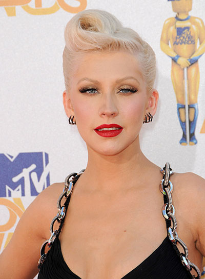Christina Aguilera Funky, Edgy, Blonde Updo