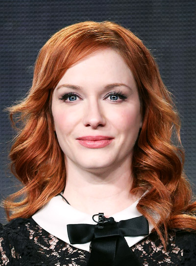 Christina Hendricks with a Long, Layered, Curly, Red Hairstyle Pictures