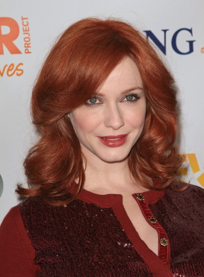 Christina Hendricks' Medium, Curly, Romantic, Party, Red Hairstyle with Bangs