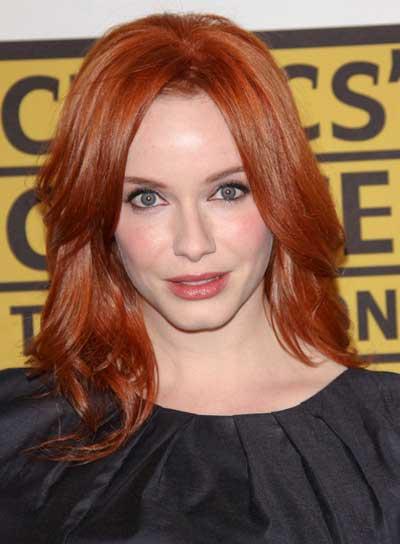 Christina Hendricks' Medium, Layered, Red Hairstyle