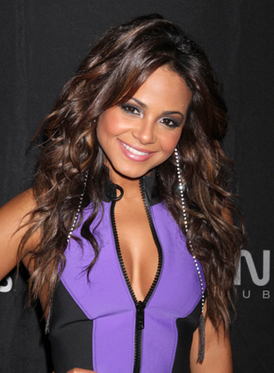 Christina Milian Long, Curly, Sexy, Brunette Hairstyle