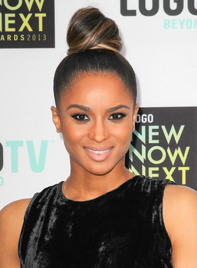 Ciara's Chic, Brunette, Updo Hairstyle with Highlights