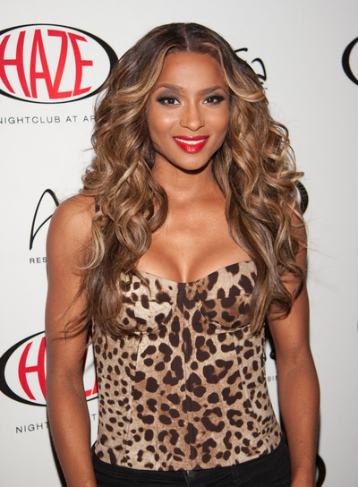 Ciara Curly Hairstyle with Highlights