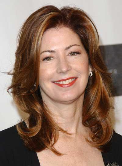 Dana Delaney Medium, Layered, Tousled, Brunette Hairstyle