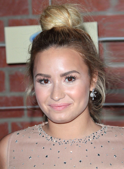 Demi Lovato's Tousled, Chic, Party, Updo Hairstyle