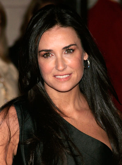 Demi Moore Long, Straight, Black Hairstyle