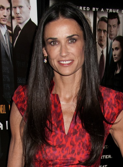 Demi Moore Long, Straight, Layered, Sophisticated, Brunette Hairstyle