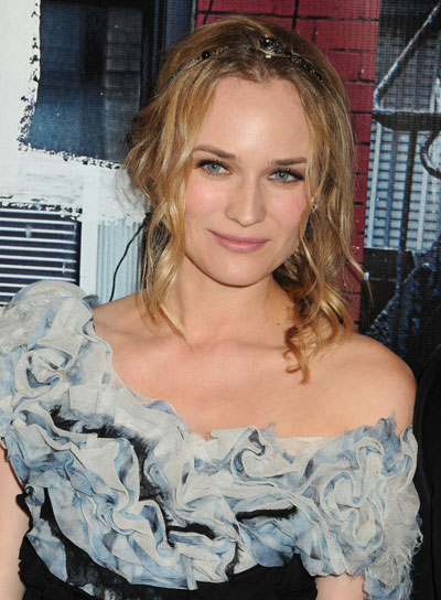Diane Kruger Curly, Romantic, Brunette Updo