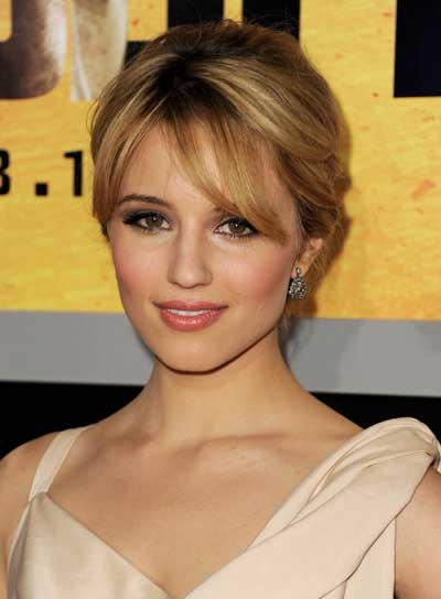 Dianna Agron Straight, Sexy, Blonde Updo with Bangs