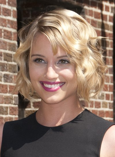 Dianna Agron Short, Tousled, Wavy, Blonde Bob with Bangs