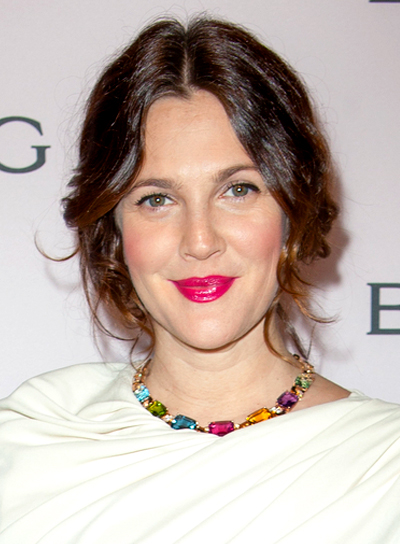 Drew Barrymore's Brunette, Wavy, Romantic, Updo Hairstyle
