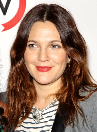 Drew Barrymore's Long, Brunette, Tousled, Wavy Hairstyle