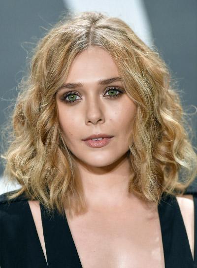 Elizabeth Olsen Medium, Tousled, Sexy, Bob Hairstyle