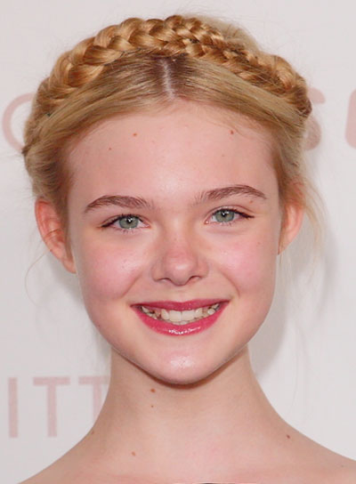 Elle Fanning Chic, Blonde Updo with Braids and Twists