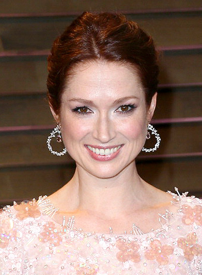 Ellie Kemper Romantic, Red, Tousled, Updo Hairstyle
