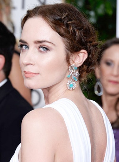 Emily Blunt with a Tousled, Prom, Updo Hairstyle with Braids and Twists Pictures
