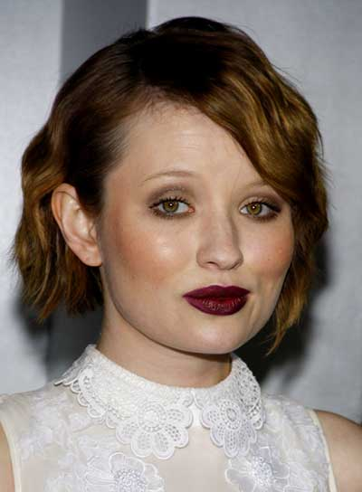 Emily Browning Short, Wavy, Prom, Brunette Hairstyle