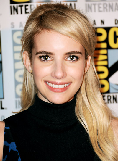 Emma Roberts' Sophisticated, Wavy, Blonde, Half Updo Hairstyle