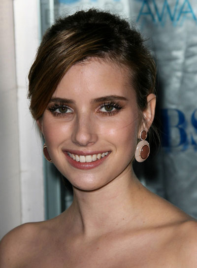 Emma Roberts Chic, Brunette Updo with Bangs