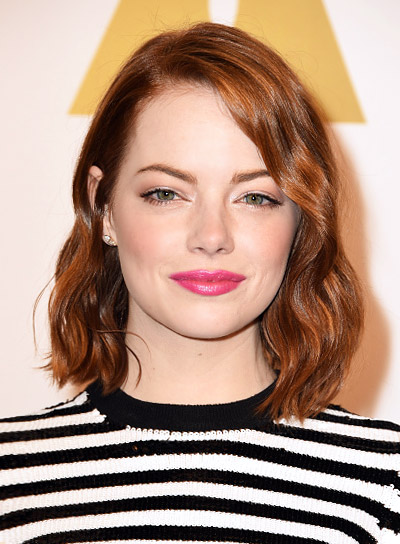 Emma Stone with a Short, Red, Tousled, Bob Hairstyle Pictures