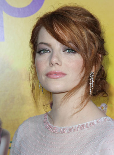 Emma Stone Sexy, Romantic, Red Updo with Bangs
