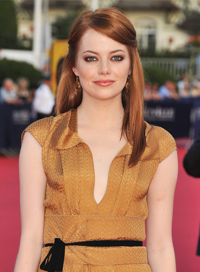 Emma Stone Medium, Straight, Chic, Red Hairstyle