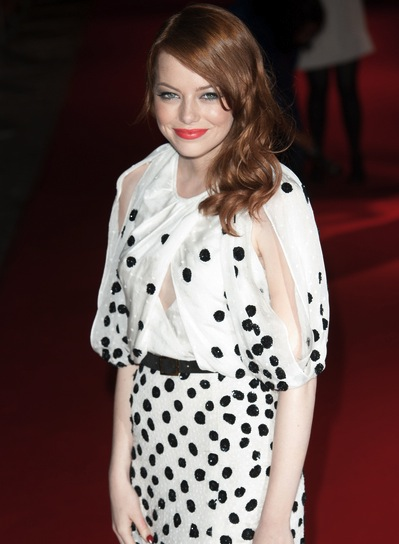 Emma Stone Medium, Romantic, Wavy, Red Hairstyle