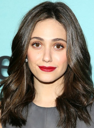 Emmy Rossum with a Long, Brunette, Wavy, Romantic Hairstyle Pictures