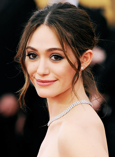 Emmy Rossum with a Wavy, Brunette, Prom, Updo Hairstyle Pictures