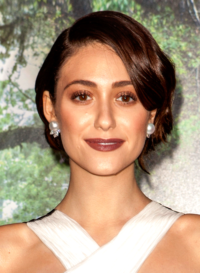 Emmy Rossum's Chic, Sophisticated, Brunette, Updo Hairstyle