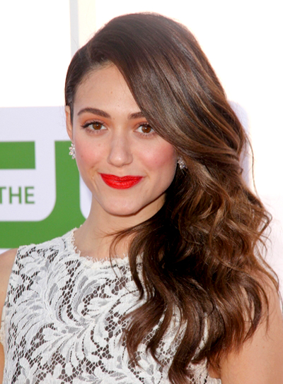 Emmy Rossum's Long, Romantic, Wavy, Brunette Hairstyle