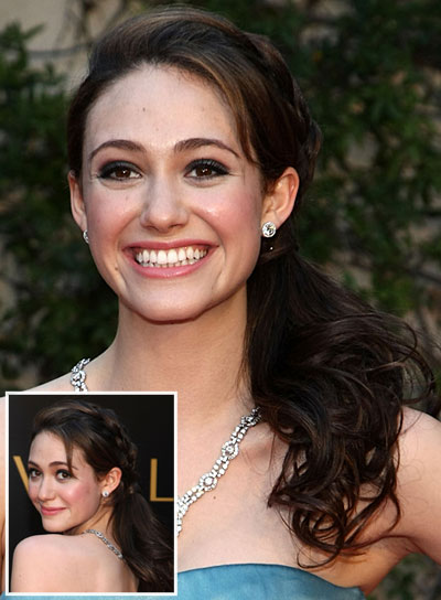 Emmy Rossum Romantic, Brunette Ponytail with Braids and Twists