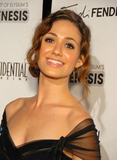 Emmy Rossum Sophisticated, Brunette, Wavy Updo