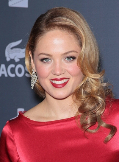 Erika Christensen Medium, Layered, Curly, Romantic, Blonde Hairstyle